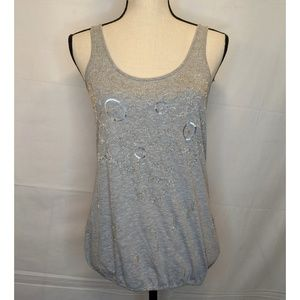 NWT American Eagle Gray Sequin Beaded Tank Top Sm